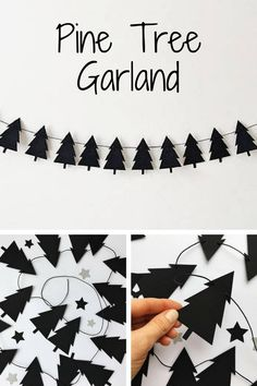 Looking for Lumberjack theme Birthday or Christmas decorations?! Scandinavian Pine Tree banner makes your party adorable. #scandinavian #ad #garland #party #decoration