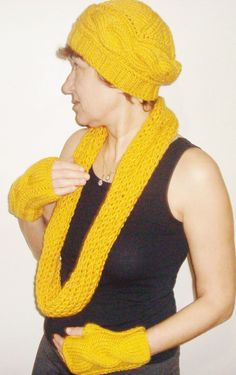 e3c456f6419 Items similar to Mustard knitted scarf hat gloves Autumn colors scarf  Mustard scarf hat gloves knit scarf Womens accessory gift for her on Etsy