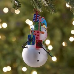 Glitter Snowman with Gifts Ornament