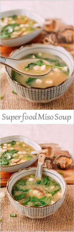 Miso soup: Miso paste, tofu, seaweed, green onion, sturdy green (chard, etc), water