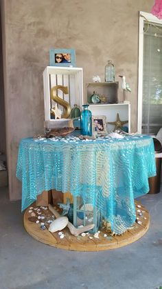 Beach Bridal Shower Theme Ideas Amp Decorations Beach Wedding In Bridal Shower Tables, Bridal Shower Decorations, Wedding Decorations, Beach Theme Centerpieces, Beach Theme Decorations, Mermaid Table Decorations, Birthday Decorations, Beach Bridal Showers, Mermaid Baby Showers