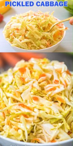This Easy Pickled Cabbage is crunchy, tangy, sweet, and seriously addicting. Its easy to make and ready to eat in about 12 hours. Cooktoria for more deliciousness! Fermentation Recipes, Canning Recipes, Canning Tips, Mexican Food Recipes, Vegetarian Recipes, Healthy Recipes, Napa Cabbage Recipes, Pickled Vegetables Recipe, Pickled Cabbage