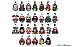 DC Comics Alphabet Cross Stitch Pattern (pdf) INSTANT DOWNLOAD
