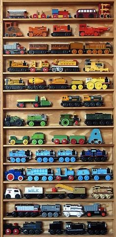 Love this for cars or trains and all small items...would be so easy to put up small molding as ledges inside a closet or along a wall.