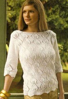 Suéter con punto hojas http://www.tejidogratis.com/44-tejido-para-mujeres-agujas/sueter/667-su-ter-con-punto-hojas.html
