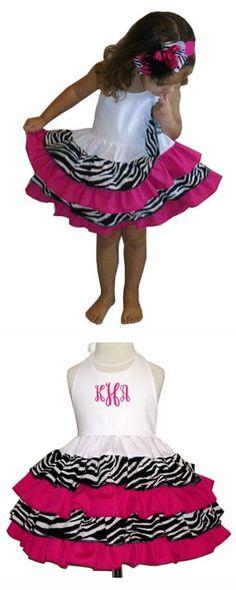 Zebra and Hot Pink Ruffled Halter Dress! Monogram Halter Sundress option! This is so cute!