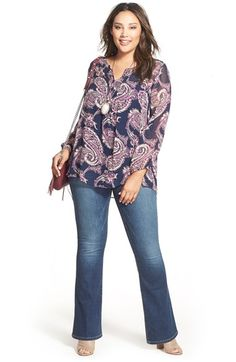 Lucky Brand Paisley Print Tunic (Plus Size) Trendy Plus Size Fashion, Plus Size Womens Clothing, Plus Size Outfits, Flare Jeans Outfit, Jeans Outfit Winter, Evening Dresses Plus Size, Formal Dresses For Women, Plus Size Kleidung, Fall Outfits For Work