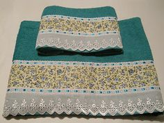 Cema Toalhas Decoradas Dish Towels, Hand Towels, Sewing Crafts, Sewing Projects, Diy And Crafts, Arts And Crafts, Room Wall Colors, Decorative Towels, Bath Linens