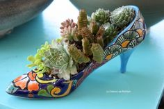 Ceramic High Heel Shoe With Succulents Growing In It (Mexican Talevera Pottery) - Designer Danielle Romero, Los Angeles, California