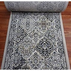 Rug Depot 178499 Traditional Stair Runners and Hall Runners - Roll Runner - Grey Background - Baktiari Design - 1 Million Points - Polypropylene - Custom Stair Runner - Sold by The Foot Hall And Stair Runners, Staircase Runner, Hall Runner, Luxury Staircase, Long Hallway, Types Of Carpet, Moroccan Design, Carpet Stairs, Buy Rugs