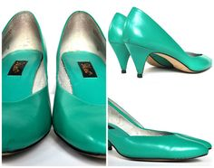Vintage 1980s jade green leather mid heel shoes by 9 West US 8.5, EU 39, UK 6.5 Made in Brazil