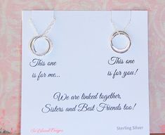 Sister Necklaces, 2 Sisters, TWO Sisters, wedding gift, matching linked necklaces, Sisters poem, birthday gift This necklace makes the perfect