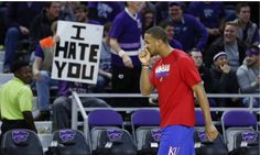 I believe it shows just how much KState has slipped in class. These two teams are rivals.but hate is a strong word. Kansas Basketball, Strong Words, Kansas Jayhawks, Alma Mater, Athlete, Rock, Sports, Hate, Classy