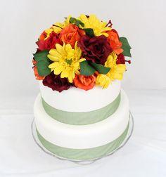 Silk Wedding Red, Orange Rose Cake Topper on Etsy, $57.00