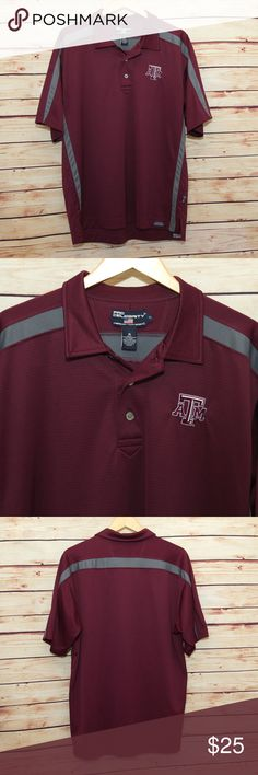 Texas A&M Polo Shirt Think Game Day! Texas A&M polo shirt. Very nice quality shirt, maroon with gray trim. The only flaw is a very tiny snag about midway down on the front -- will add that photo by 10/22. 100% Micropolyester. Smoke free home. Pro Celebrity Shirts Polos