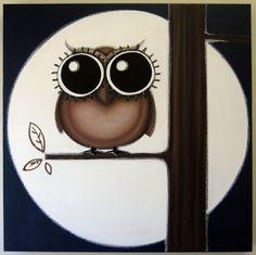 oWL SOOOOOOO HiGH - 24x24 original painting on canvas, owl art, owl wall art, owl decor, owl in tree. $150.00, via Etsy.