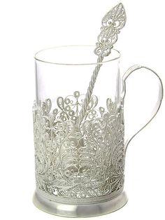 Подстаканник посеребренный / Russian  silver plated glass holder