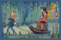 ≍ Nature's Fairy Nymphs ≍ magical elves, sprites, pixies and winged woodland faeries - 'The Snail Coach'by Hilda Miller Arte Elemental, Snail Art, Kobold, Fine Art Prints, Canvas Prints, Vintage Fairies, Fairy Art, Children's Book Illustration, Faeries