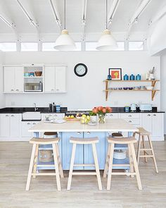We love this Milestone Kitchen in Port Elizabeth. 🔹Swedish Style, 🔹Ice White, 🔹Castors in the island, legs one the rest, 🔹A mix of solid wood and granite tops. We love the clean lines, the symmetry, the attention to detail. Granite Tops, Swedish Style, Port Elizabeth, Cottage Living, South Africa, Solid Wood, Clean Lines, Table, Kitchens
