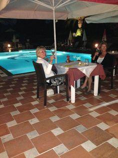 A relaxing evening poolside at Veranda Restaurant at Mathraki Corfu Resort. Destin Resorts, Veranda Restaurant, Refreshing Drinks, Amazing Destinations, Table Decorations, Cheers, Pictures, Home Decor, Photos