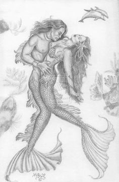 Sketch drawing of a mermaid and merman together