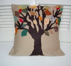 Leaf appliqued pillow, tree of life accent toss pillow country Autumn colorful leaves cushion. $54.00, via Etsy.