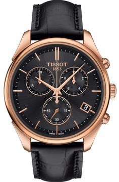 Tissot Watch Vintage Chronograph 18ct Gold #add-content #bezel-fixed #bracelet-strap-leather #brand-tissot #case-material-rose-gold #case-width-40mm #chronograph-yes #date-yes #delivery-timescale-1-2-weeks #dial-colour-black #gender-mens #luxury #movement-quartz-battery #official-stockist-for-tissot-watches #packaging-tissot-watch-packaging #style-dress #subcat-t-gold #supplier-model-no-t9204177644100 #warranty-tissot-official-2-year-guarantee #water-resistant-30m