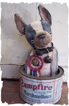 Boston Terrier in Vintage Tin
