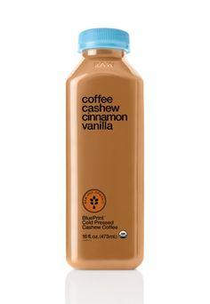 Coffee and breakfast in one : BluePrint Cleanse Coffee Cashew Cinnamon Vanilla - Dairy-Free Coffee Juice Branding, Juice Packaging, Beverage Packaging, Coffee Packaging, Bottle Packaging, Coffee Milk, Coffee Drinks, Blueprint Coffee, Blueprint Cleanse