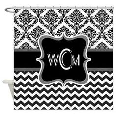 Personalise initials, monograms on Shower curtains. Email jcvtees@gmail.com for custom designs.