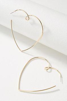 Slide View: 1: Loving Heart Hoop Earrings
