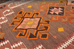 Handmade Rug Production Samples for A CITY AWAKE, designed by Amina El-Sharkawy for RUG YOUR CITY, a Kickstarter project to produce handmade rugs inspired by modern cities.  A CITY AWAKE was designed as a traditional Turkish-style kilim. This image is an example of the type of weaving and style backers can expect to see produced.