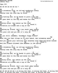 Song Lyrics with guitar chords for Aqualung - Jethro Tull