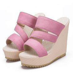 Suede Heel Sandals Slippers Women Wedges Sandals Open Toe High Heels - Stylish n Trendier - 12