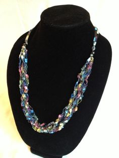 crocheted trellis yarn bib necklace pattern knitting crochet