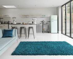 Teppich Design Hochflor Langflor Fußbodenteppich DUMROO TEAL Türkis A100158