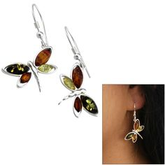 Dragonfly Amber & Sterling Earrings at The Animal Rescue Site