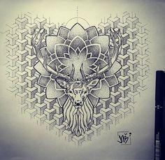 Ideas mandala tattoo vrouw dotwork for 2019 Wolf Tattoos, Deer Tattoo, Mandala Tattoo Back, Mandala Tattoo Design, Neck Tattoo For Guys, Tattoos For Guys, Haut Tattoo, Hirsch Tattoo, Throat Tattoo