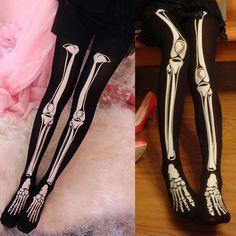 New Punk Cool Skeleton Printed Pants Pantyhose Leggings Stockings Tights Hot #Unbranded #Punk