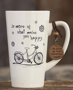 Tall Mug with Bicycle- What Makes You Happy : Aprons - Dresses - Betsey Johnson Handbags - Mindy Weiss Wedding - Daisy Shoppe
