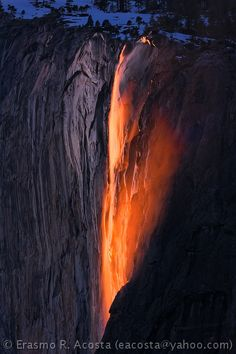 """The, """"lava waterfall"""" seen today at Yosemite National Park! The Places Youll Go, Great Places, Places To See, Yosemite Waterfalls, Beautiful World, Beautiful Places, Horsetail Falls, Lava Flow, Dream Vacations"""