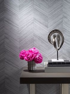 Philip Jeffries Vinyl Wallcovering - Against the Grain Collection. Type II Washable. A selection of paulownia, black oak, cane, and scholar wood is sliced into thin veneers, dyed, cut in strips and placed into a chic geometric chevron pattern for the look of artisanal parquet woodwork.