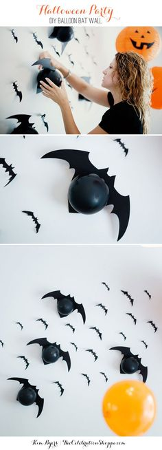 How To Make Wall of Balloon Bats for Your Halloween Party | Kim Byers, TheCelebrationShoppe.com