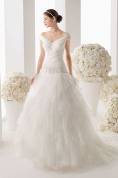 Spectacular V Neck Off The Shoulder A Line Tiered Skirt Wedding Dresses USD 338.79 LDPP5HL5DL - LovingDresses.com