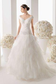 Spectacular V Neck Off The Shoulder A Line Tiered Skirt Wedding Dresses USD 338.79 LDPP5HL5DL - LovingDresses.com