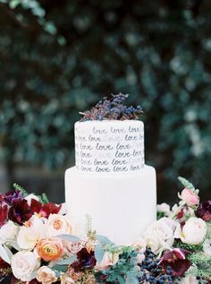 WEDDING IDEAS & INSPIRATIONS This cake literally says it all - love the hand lettering and the sea of flowers! See more of this jewel tone shoot in wine Cool Wedding Cakes, Beautiful Wedding Cakes, Wedding Cake Designs, Wedding Cake Toppers, Beautiful Cakes, Amazing Cakes, Jewel Tone Wedding, Floral Wedding, Fall Wedding