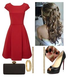 """Red beauty"" by paoladouka on Polyvore featuring Lord & Taylor, Alexander McQueen, Phase Eight, Christian Louboutin and Jennifer Meyer Jewelry"