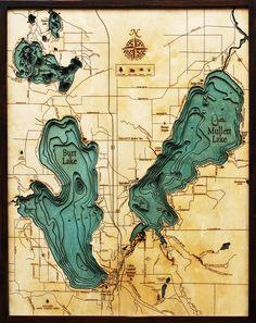 Wood Chart   Burt Lake   Mullett Lake   Michigan