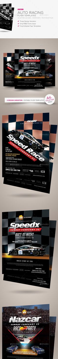 ad, advert, american, auto, burnout, car, car show, checkered flag, custom, Daytona 500, drag, flyer, hotrod, magazine, modified, motor, nascar, national, night, party, poster, race, racer, racing, retro, salon, speedway, sport, vintage     Auto Racing Flyer Templates A flyer template set perfect for promoting auto racing event. Available in three design variation, these templates are fully editable (texts, photo placeholders and color schemes)  	Flyer specs and features: - print size…