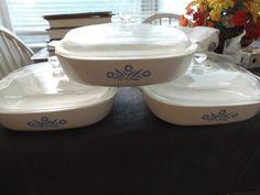 "3 Corning Ware A-10-B Blue Cornflower 10"" Baking Dishes with lids #CorningWare"